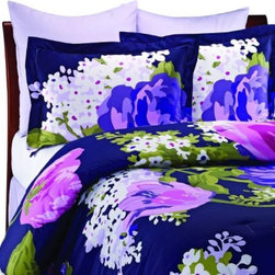 Isaac Mizrahi Sateen Comforter Set, Purple - Florals are always a good look. I love this rich color too.