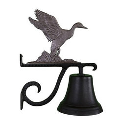 Cast Bell with Swedish Iron Duck Ornament - Welcome fellow duck enthusiasts to your home with this Cast Bell with Swedish Iron Duck Ornament. The duck has a distinctive iron finish and is perched atop the scrolled mounting bracket of this aluminum bell. The baked-on black enamel finish makes it weather-resistant!