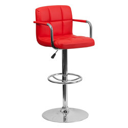 Flash Furniture - Flash Furniture Contemporary Red Quilted Vinyl Adjustable Height Bar Stool - This sleek dual purpose stool easily adjusts from counter to bar height. The simple design allows it to seamlessly accent any area in the home. Not only is this stool stylish, but very comfortable to provide you with an amazing sitting experience! The easy to clean vinyl upholstery is an added bonus when stool is used regularly. The height adjustable swivel seat adjusts from counter to bar height with the handle located below the seat. The chrome footrest supports your feet while also providing a contemporary chic design. [CH-102029-RED-GG]