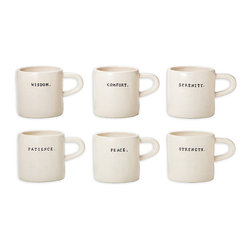 Ceramic Word Mugs, Set of 6 - Hefty ivory mugs are comforting in the hand, attractive on the shelf, nostalgic in their simplicity, and elegantly accented with a single word apiece. Whether offering perspective along with an evening cup of chamomile or lending inspiration to your morning coffee, these designer Word Mugs are pleasant to hold and provide transitional personality along with steaming beverages.