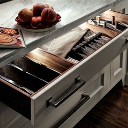 Trish Namm - Walnut Silverware Drawer by Quality Custom Cabinetry available through Kent Kitchen Works