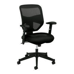 Hon - Basyx HVL531 Mesh Back Work Chair - Whether you're the Chair of the Board, or are bored with your old chair, this one will suit your needs. The arms and seat height adjust to fit your frame, while the frame tilts, swivels and rolls. It features a breathable mesh back and comfortable padded seat.