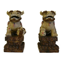 Golden Lotus - Chinese Ceramic Foo Dogs Accent Home Figure - This is a traditional Chinese handcrafted decorative oriental style Fu dog figure with detail scroll curl hair pattern.