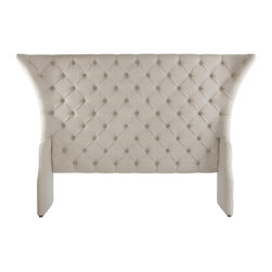 Kathy Kuo Home - Olivia French Country Linen Button Tufted Head Board- Queen - A distinctive headboard can bring the whole bedroom together, adding a feeling of effortless style and luxury. This Hollywood Regency headboard is particularly appealing with its outwardly tapered corners and a the perfect shade of griege, button-tufted linen.  Let the dreaming begin!