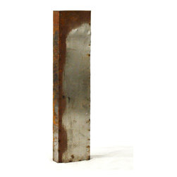 """Kathy Kuo Home - Industrial Rustic Metal Large Letter I 36""""H - Create a verbal statement!  Made from salvaged metal and distressed by hand for an imperfect, time-worn look."""