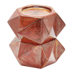 Lazy Susan - Large Ceramic Star Candle Holders - Russett. Set of 2 - Handcrafted in earthenware and finished in a rich russett glaze these geometric forms are based on origami. Origami is now considered a modern art form after being popularized outside of Japan in the mid-90's.