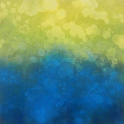 Napila 3 - Original Abstract Painting - This abstract contemporary painting is part of a series of work that juxtapose saturated yellows and blues. The vaporous forms move upward, creating orbs and spheres in their wake.