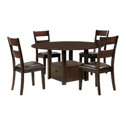 Steve Silver Company - Steve Silver Company Gibson 5 Piece 2 in 1 Dining Table Set in Espresso - Steve Silver Company - Dining Sets - GB700PTGB700PBKit5PcPKG - Steve Silver Company Gibson Ladderback Upholstered Dining Side Chair in Espresso