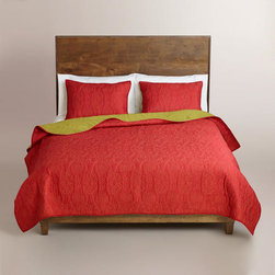 Coral and Oasis Green Simone Reversible Quilt -