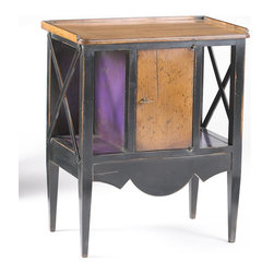 French Heritage - Storage Accent Table, Black and Violet Finish - Precious occasional table with a big personality fits a tiny space. Black and purple with Antique Cherry create a fun combination with criss-cross side treatments and a decorative scalloped front. Storage comes with or without a door.- One Door.- Two Storage Spaces.- Cherry/Maple. - Weight: 125lbs