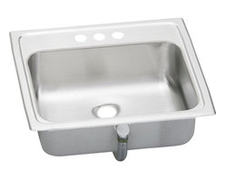 "Elkay - 19"" x 17"" x 6.125"" Single Bowl Bath Sink - Product height: 26.13. Product min width: 7.94. Product depth: 19.4420. Gauge stainless steel 19"" x 17"" x 6.125"" single bowl top mount bathroom sink. Introduce inspired beauty into the bathroom with a choice of either crisp lines or smooth curves, asana creates a compelling presence without overpowering the senses. Asana (pacemaker) stainless steel single bowl top mount sink."