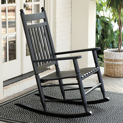Ballard Designs - Classic Rocking Chair - Coordinates with our Classic Porch Swing. Crafted of solid eucalyptus. Covered outdoor location recommended. Assembly required. Saturday afternoons just got a little more relaxing. Our Classic Rocking Chair has everything you want and expect in an heirloom quality rocker tall cradling back, comfortably contoured seat and turned spindle legs. Classic Rocking Chair features: . . . .
