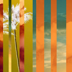 Murals Your Way - Tropical Stripes 2 Wall Art - Warm colors create an inviting environment in a room and the gold, red and orange stripes in this mural would provide both warmth and some pizzazz.
