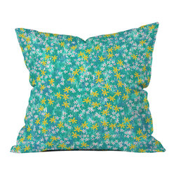 DENY Designs - Joy Laforme Wild Daisies Throw Pillow - Wanna transform a serious room into a fun, inviting space? Looking to complete a room full of solids with a unique print? Need to add a pop of color to your dull, lackluster space? Accomplish all of the above with one simple, yet powerful home accessory we like to call the DENY throw pillow collection! Custom printed in the USA for every order.