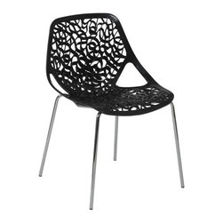 Euro Style - Lovie Stacking Side Chair - Set of 2 (Black) - Color: BlackSet of 2. Polypropylene seat. Chromed steel legs. Stackable. 22 in. W x 22 in. D x 32 in. H (11.8 lbs.)Grand ideas for small spaces, the smooth and clean geometric shapes give your rooms a trendy, up-to-date look. The furniture design make your rooms stylish and sophisticated, symbolizing your self confidence.