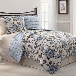 Victoria Classics Bella 3 pc. Reversible Quilt - Bring romance to your guest suite with the Victoria Classics Bella 3 pc. Quilt Set. A serene combination of quiet flowers and beautiful script, this quilt set adds comfort and soothing color. It features a reversible quilt and two reversible pillow shams for two complete looks in one set. The quilt is made machine-washable from a soft blend of cotton and polyester. It has an oversized floral print on one side and elegant script on the reverse. This set comes in your choice of sophisticated color and size. Quilt Dimensions:Queen: 86W x 86L inchesKing: 101W x 86L inches