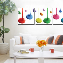 Drop of colors - Copia Art offers affordable three-panel wall art for any type of interior wall space. We design each of our wall pieces by mounting beautiful hi-resolution images to high-quality, solid-wood panels. Our decorative wall-art sets are available in three different sizes and can be hung in commercial and office spaces as well as any area of the home. Panels are designed for durability and moisture resistance. Any piece can hang in bathrooms and kitchens without being damaged by heat and moisture.