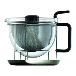 "Mono - Classic Collection Teapot With Tray - Craving capital ""T"" Tea? Here's the teapot that will make it happen in style. With its wide sieve, flawless glass bowl and elevated stand with metal tray, this teapot satisfies the craving of even the most discerning tea aficionado."