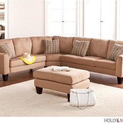 Southern Enterprises - Alastair 4 Piece Sectional - Includes 1 sofa, 1 loveseat, 1 wedge, 1 ottoman, and 4 toss pillows. Features full assembly for sofa and loveseat for left or right arm facing. Mocha microfiber with espresso legs; toss pillows feature one side mocha, one side link patter. Constructed of 100% hardwood base and microfiber fabric. Cushions are made of 1.8 density CA foam, memory foam, and recycled blown polyester fiber. Assembly required; five minutes or fewer. Sectional: 110 in. W x 88.5 in. D x 34 in. H. Sofa: 77 in. W x 30 in. D x 34 in. H, seat: 66 in. W x 20 in. D x 17.5 in. H. Loveseat: 55.5 in. W x 30 in. D x 34 in. H, seat: 44 in. W x 20 in. D x 17.5 in. H. Wedge: 57 in. W x 31 in. D x 34 in. H; ottoman: 34 in. W x 23 in. D x 18 in. H. Space beneath furniture: 6.5 in. H. Cushions: 6 in. THK (bottom), 8 in. THK (back); cushions are stitched in place and are not removable. Toss pillows: 16 in. W x 16 in. D The long search for the ultimate living room sofa set is over. This sofa set is the ideal start for a room filled with cozy relaxation and fun adventures. This sofa set features a luscious mocha microfiber that you will sink right into. The squared arms offer clean design, and the beautiful toss pillows serve as the perfect accent. This exquisite sectional set includes sofa, loveseat, wedge, and ottoman. Full sofa and loveseat components are included for use as a right-arm or left-arm sectional, or sofa and loveseat can be used separately without wedge. This sofa set is easy to assemble, making it the perfect choice for any home. In approximately five minutes, you can assemble this sofa set without any tools or formal training. It features an easy to assemble design which utilizing connecting brackets and allows you to simply click each into place. The ease of assembly isn't only an advantage when you first purchase this sofa set, disassembling and reassembling is a breeze for stress-free moving or rearranging. This sofa set complements homes