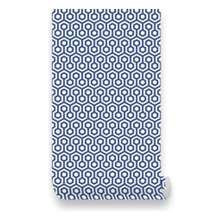 Pink & Blue Baby - Honeycombs Blue Fabric Wallpaper - Peel & Stick, Repositionable - Honeycombs Blue Peel & Stick Fabric WallPaper has adhesive back with re-positionable and removable. It also can be re-applied over and over and adhesive does not weaken or strengthen over time. All our Premium Fabric WallPapers are Eco-friendly and non toxic.