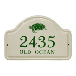 White Hall Turtle Ceramic Arch Address Plaque - Add a charming accent to your outdoor decor with the White Hall Turtle Ceramic Arch Address Plaque. This ceramic plaque makes a great addition to any home and features lines for text and numerals in your choice of available colors. Its charming sea turtle graphic is perfect for coastal homes. An arched design and 2-point screw attachment makes it an attractive piece and easy to install.About Whitehall ProductsWhitehall Products are known as the world's leading manufacturer of weathervanes and is equally as respected for their high quality personalized home wall plaques. They also offer a wide variety of mailboxes, garden accents, hose holders, birdbaths, bird feeders, sundials, and more. Each offers an original design and is hand cast for the highest quality product available. Based in Montague Michigan, Whitehall has been producing these popular products for over 65 years.