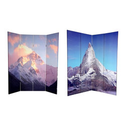 Oriental Unlimted - 6 ft. Tall Double Sided Matterhorn & Everest - One double-sided divider, both sides shown in image. Transcend the ordinary with this pair of powerful, National Geographic quality photographs of 2 of the world's most famous mountains. On the front is a photo print of tallest summit in the world, the majestic Mount Everest, taken from the Nepalese border. On the back is the most recognizable apex in the Swiss and Italian Alps, the iconic and unmistakable Matterhorn. These fine prints will bring beautiful decorative accents into your living room, bedroom, dining or kitchen. This 4 panel screen has different images on each side. High quality wood and fabric covered room divider. Well constructed, extra durable, kiln dried Spruce wood frame panels, covered top to bottom, front, back, and edges. With tough stretched poly-cotton blend canvas. 2 Extra large, beautiful art prints - printed with fade resistant, high color saturation ink, creating 2 stunning, long lasting, vivid images, powerful visual focal points for any room. Amazingly inexpensive, practical, portable, decorative accessory. Almost entirely opaque, double layer of canvas, providing complete privacy. Easily block light from a bedroom window or doorway. Great home decor accent - for dividing a space, redirecting foot traffic, hiding unsightly areas or equipment. Providing a background for plants or sculptures, or use to define a cozy, attractive spot for table and chairs in a larger room. Assembly required. 15.75 in. W x 70.88 in. H (each panel)
