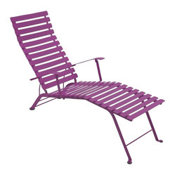 Fermob - Bistro Folding Chaise Lounge - This modern outdoor lounge offers a great way to relax in any outdoor space. Perfect for eating and drinking in the sun, or just chatting with others in a comfortable environment. It comes in many beautiful colors.