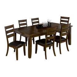 Jofran - Jofran 337 Tyler Brown Cherry 7-Piece Rectangular Dining Room Set - Combining traditional details with modern designs, Jofran has a collection to compliment any home decor. This 7 Piece rectangular dining Room Set belongs to 337 Series - Tyler brown cherry collection by Jofran Inc. The classic formulas of color combinations are not valid in Jofran Furniture territory: here is ruled by laws solely of your own preferences and fantasies. Huge selection of colors in combination with a wide choice of shapes and sizes allow you to find among this variety precisely the furniture you've always wanted to see in your home. Jofran Furniture offers high quality, casual furniture pieces that are constructed from premium Asian hardwoods, and finished with beautiful veneers. Durable materials and quality assembly will help your furniture to serve for many years and will not let you be disappointed in your choice.