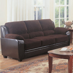 """Coaster - Monika Sofa, Chocolate - Modernize outdated decor with the simple, stylish elegance of the Monika sofa collection. With a versatile neutral color like chocolate, this plush piece enhances any home with casual charm. High-density foam cushions offer unbelievably cozy lounging.; Casual Style; Finish/Color: Chocolate; Upholstery: Corduroy; Dimensions: 80""""L x 36""""W x 38""""H"""
