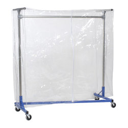 "Quality Fabricators - Cover - Clear Vinyl w/ Zipper - 60""H - 72""L - for 6ft Z-Rack Clear - This cover is designed to protect your hanging clothes and storage items from typical dust and dirt. The clear cover easily fits over the entire garment rack and zips up the front for easy access. Add cover supports to help keep your stored items protected."