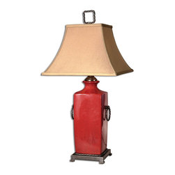 Uttermost - Uttermost Rocco Table Lamp in Crackled Tomato Red - Shown in picture: Crackled Tomato Red With Dark Bronze Metal Details. This porcelain lamp has a crackled - tomato red glaze with dark bronze metal details. The rectangle bell shade is a silkened taupe textile.