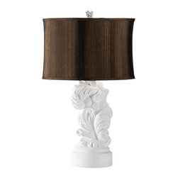 Kathy Kuo Home - Daphne Chocolate Brown White Acanthus Leaf Modern Table Lamp - We love it when modern pieces make traditional references, like this plaster cast table lamp.  Generous curved fronds, typical of Italianate wood carving, are cast in pristine white.  A subdued silk shade in dark chocolate adds contrast and interest.  A great additional to eclectic spaces from traditional to modern and beyond.  This is a final sale item.