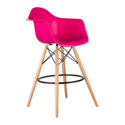 Barstool Arm Chair in Fuchsia - Take iconic mid-century modern design to new heights. Inspired by the classic design aesthetic of our Montmarte Arm Chair, the Barstool Arm Chair offers stylish modern seating for your counter-height needs. The chair features a smooth polypropylene seat with a waterfall edge for added support. It also features natural wood dowel legs. We see this chair fitting in at the kitchen island, providing a comfortable seat for late night stacks or kitchen chatter. Available in a variety of vibrant colors, the chair will spruce up your décor without overpowering the room.