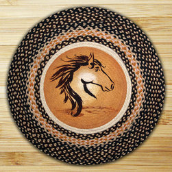 Earth Rugs - RP-364 Horse Portrait Round Patch 27in.x27in. - Horse Portrait Round Patch 27 in. x27 in.