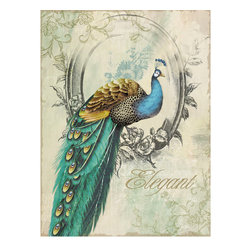 YOSEMITE HOME DECOR - Peacock Poise I - Right facing peacock printed in soft tints of aqua, teal, gold, and green with metal accents on a linen canvas.
