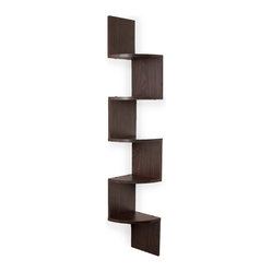 Large Laminated Walnut Veneer Corner Wall Mount Shelf