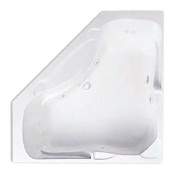 "Lasco Bathware - Aquatic 9560621 Acrylic Builders' Choice Whirlpool Tub, White - The Aquatic PREAKNESS 9560621 is part of the Builders' Choice Series, and it measures 60"" x 24"" x 22"". This whirlpool bath features 8 hydrotherapy jets, .75 HP pump, an advanced safety suction system, a bath-side on/off button, sculpted armrests, a slip-resistant floor, a centered drain, and a lucite cast acrylic surface. This model comes in a White finish. Additional finish options include: Linen, Biscuit, Bone, Almond, and Sterling Silver."