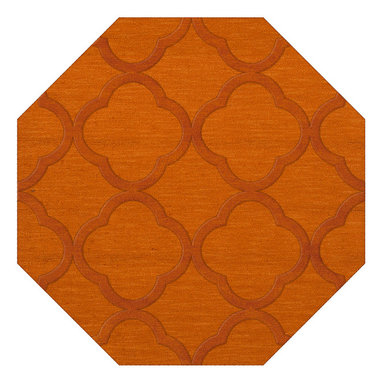 """Dalyn Rugs - Dalyn Rugs Dover DV8 Orange Rug DV8OR10OCT - """"Luxury"""", made in the USA. Stylish, tonal, geometric and floral designs. Textural cut and loop pile. 100% premium wool."""