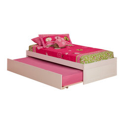 Atlantic Furniture - Atlantic Furniture Concord Platform Bed with Foot Board and Trundle in White-Ful - Atlantic Furniture - Kids Beds - AR8032012