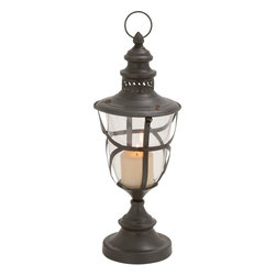 """Benzara - Fascinating Beautiful Styled Metal Glass Lantern - This metal and glass constructed lantern instantly adds interest to the place it is kept in. this lantern features rectangle shaped well designed sides. The slender copper finish and rope handle helps you hook the lantern to any wall of your choice. Also the handle helps you carry the lantern from one place to another. Add a white or beige colored candle to the lantern to cast a warm glow in the ambiance. The lantern will get along well with all kind of home interiors and also it can be used for both indoor and outdoor use. You must have never before seen a lantern like this, as this is just one of its kinds. Apart from adding brightness to the surroundings, the lantern will add warmth too. The sight of the lantern with the candle glow is worth a watch. So, get it if you like the style of this lantern. Metal Glass Lantern measures 14 inches (Width) x 32 inches (H); Made of quality metal and glass; Durable construction; Dimensions: 9""""L x 9""""W x 20""""H"""