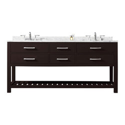 """Water Creation Inc. - Madalyn 72E 72"""" Espresso Double Sink Bathroom Vanity From The Madalyn Collection - Water Creation's collection of premier double sink bathroom vanities will add a level of sophistication and class to any bathroom's decor. The crossroads of timeless design and innovative modern manufacturing processes merge harmoniously to ensure each vanity's finishes and function are as reliable as their unmistakable beauty. Constructed of 100% hardwood and not particle board, Water Creation prides itself on creating high-class vanities that are designed to last a lifetime. The marble countertop, ceramic sinks, and elegantly crafted doors and drawers all lend credence to the durability and superior craftsmanship that Water Creation is known for. With the understanding that no one space is alike, all of Water Creation's vanity designs come in multiple lengths to accommodate any room size."""