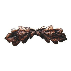 """Inviting Home - Oak Leaf Pull (antique copper) - Hand-cast Oak Leaf Pull in antique copper finish; 4""""W x 1-1/2""""H; Product Specification: Made in the USA. Fine-art foundry hand-pours and hand finished hardware knobs and pulls using Old World methods. Lifetime guaranteed against flaws in craftsmanship. Exceptional clarity of details and depth of relief. All knobs and pulls are hand cast from solid fine pewter or solid bronze. The term antique refers to special methods of treating metal so there is contrast between relief and recessed areas. Knobs and Pulls are lacquered to protect the finish. Alternate finishes are available."""