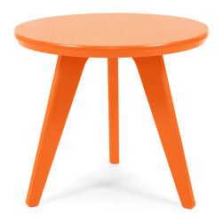 Loll Designs - Satellite End Round 18 Table, Sunset Orange - In the context of outdoor lounging, a Loll Satellite accent table is a recycled polyethylene object placed into orbit around humans resting in Loll Furniture. Unlike the moon, the Loll Satellite Table actually rotates in conjunction with the Earth and her inhabitants, at just over 1,000 miles per hour, but appears to be sitting still. We think it's time for you to have your very own Satellite... perfect for star gazing on black nights with warm breezes and cold drinks. All Loll Satellite Tables are made with heavy duty 1 inch thick poly and available in an assortment of colors, shapes and sizes.