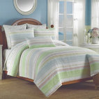 Sun-Washed Stripe Coastal Quilt Set - Accent your seaside retreat with this coastal stripe quilt set.  A blend of tropical, sun-washed hues of aqua blue, orange, coral, and lime green are paired with white to create a light and airy seaside style.  The look is perfect for tropical, coastal, cottage or beach decor.
