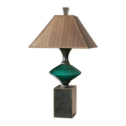 Uttermost - Alzavola Dark Teal Lamp - Put your favorite color on a pedestal! Adorned with a large teal glass disc bead, this elegant lamp sits on a rustic bronze pedestal and lofts a tapered square shade. No ordinary reading lamp, it becomes a stunning showpiece on an end table in your living room or on a buffet or credenza.