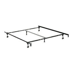 """HBF3170BL - Queen/Cal King/Eastern King Size Supreme Atlas-Lock Bed Frame W/ Rug Rollers - Queen / Cal king / Eastern king size supreme atlas-lock bed frame with rug rollers with headboard attachment . This frame features 2"""" wide rug rollers , 1 1/4"""" x 1 1/4"""" steel construction, steel rail side rails for solid support,  Center support rail.  Solid rivet construction.  Some assembly required. Available in Twin / Full,  Twin / Full / queen, queen /Cal. King / Eastern King."""