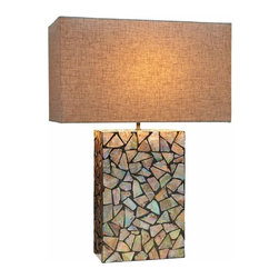 Natural Design House - Mother of Pearl Table Lamp - Mother Of Pearl table lamp, Broken pearls inlay Design, made of pure grade A mother of pearl with a natural cotton shade.