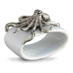 Octopus Stoneware Napkin Ring - Delightful whimsy cannot escape your tablescape with the unexpected, spectacular beauty of the Octopus Stoneware Napkin Ring. A stunning pewter octopus lounges atop the ring, lending the piece a sculptural quality. Each ring is double glazed by hand and twice fired for a lustrous finish.