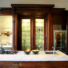 Pilar Guzman's kitchen... gorgeous, repurposed Victorian cabinets.