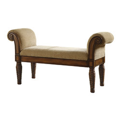 Coaster - Traditional Wooden Bench - This stately upholstered bench will make a statement in your entryway,hallway,bedroom or living room. A beautifully detailed wood base is accented by turned post legs and curved armrests with detailed carvings.